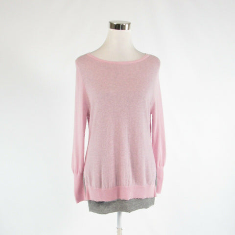 Pink gray 100% cashmere HALOGEN CASHMERE long sleeve boat neck sweater PM-Newish