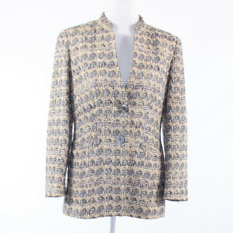 Gray beige plaid tweed RENA LANGE long sleeve jacket 2 44