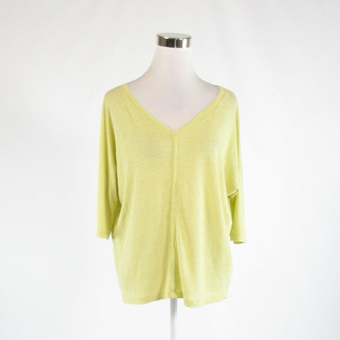 Light green 100% linen EILEEN FISHER stretch 3/4 batwing sleeve knit blouse PS-Newish