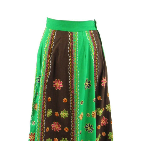 Green brown geometric 100% cotton vintage maxi skirt XS
