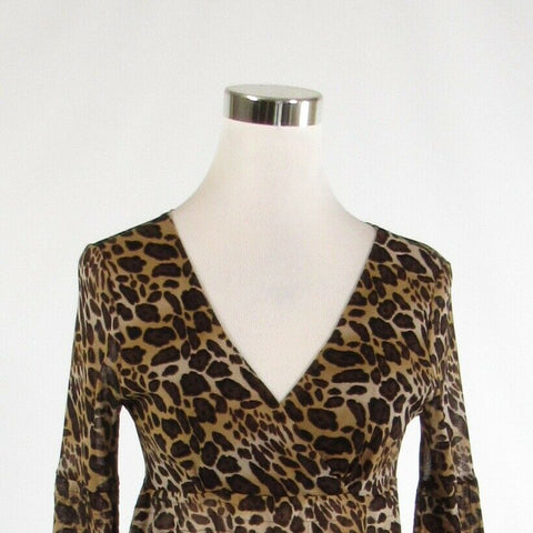 Beige brown cheetah BCBG MAX AZRIA semi-sheer stretch bell sleeve tunic blouse S-Newish