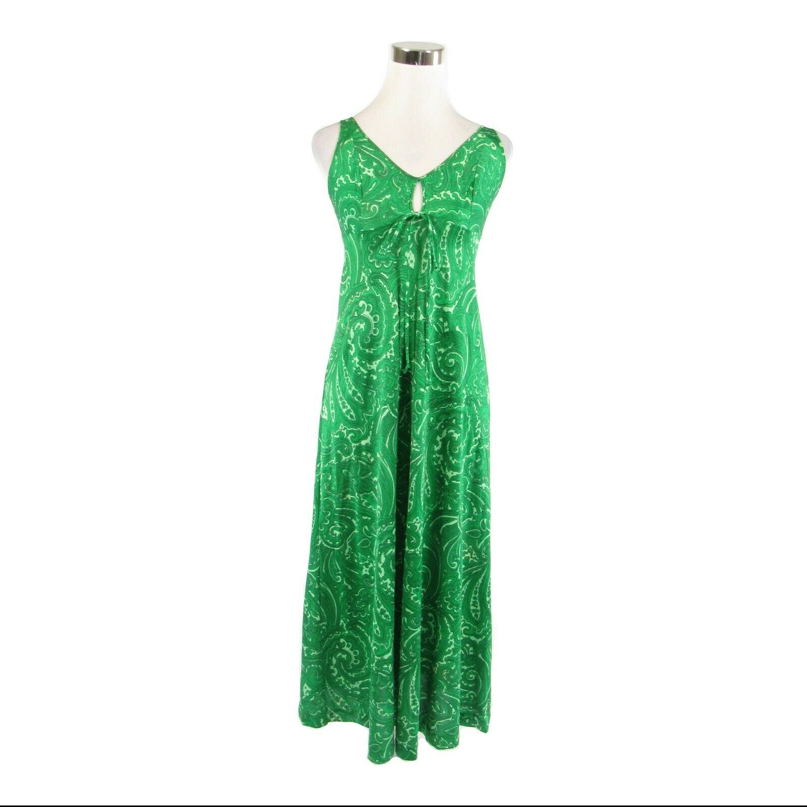 Green paisley OLGA sleeveless vintage maxi slip dress 32 XS-Newish