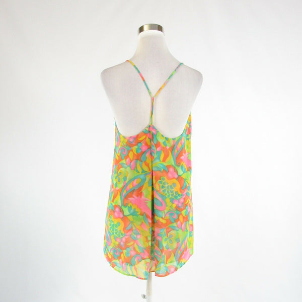 Light green orange floral print SHOW ME YOUR MUMU spaghetti strap cami blouse M