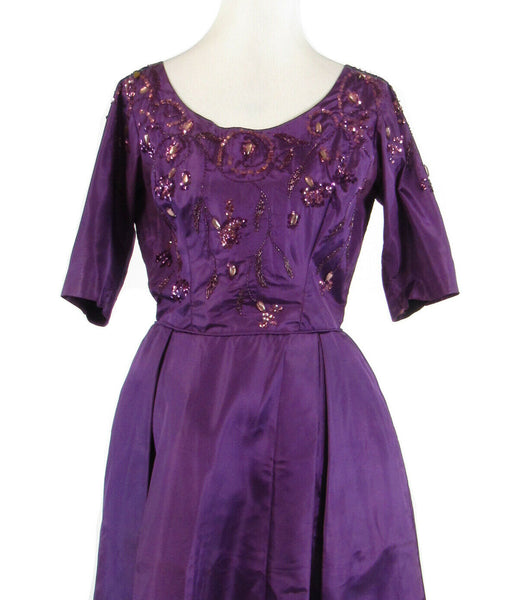 Purple silk 1/2 sleeve sequin trim beaded ball gown vintage dress S-Newish