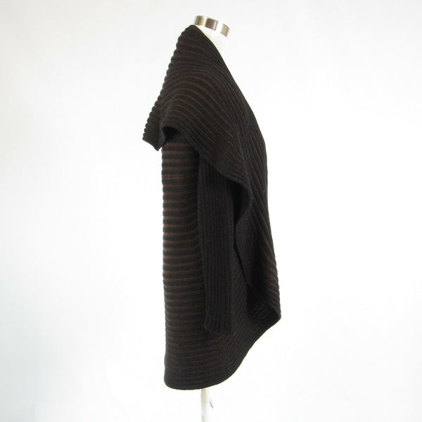 Brown black striped wool blend ANGEL long sleeve shrug sweater ribbed M