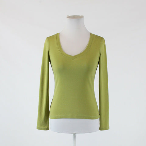 Olive green 100% cotton ANN TAYLOR LOFT long sleeve V-neck knit blouse XS