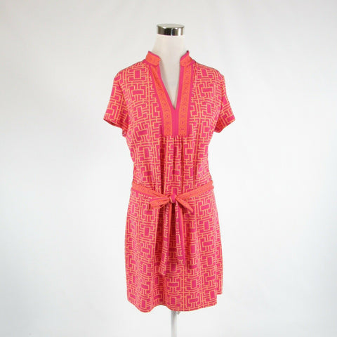 Fuchsia pink orange geometric ELIZABETH MCKAY stretch short sleeve tunic dress L-Newish