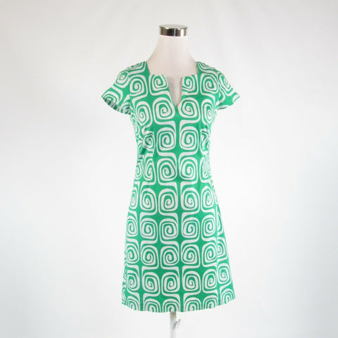 Green white geometric cotton blend LESLEY EVERS cap sleeve sheath dress XS-Newish