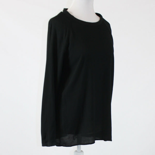 Black 100% rayon J.JILL long sleeve scoop neck ribbed trim blouse S