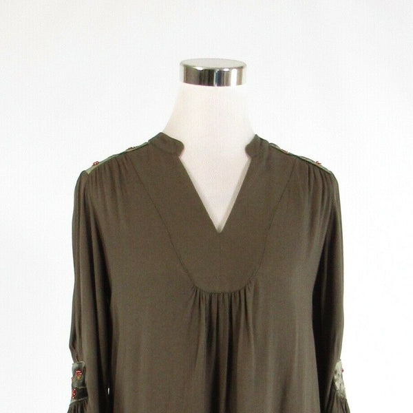 Olive green brown CAROLINA BELLE stretch bell sleeve shift dress 4-Newish