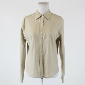 Khaki white striped 100% cotton TALBOTS long sleeve button down blouse S