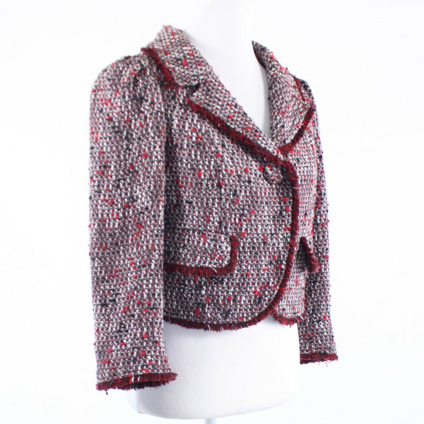 Red white space dyed tweed ECCOCI 3/4 sleeve jacket 6-Newish