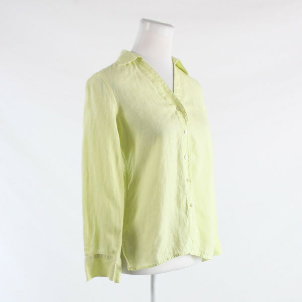 Light green 100% linen TALBOTS long sleeve button down blouse 6P-Newish