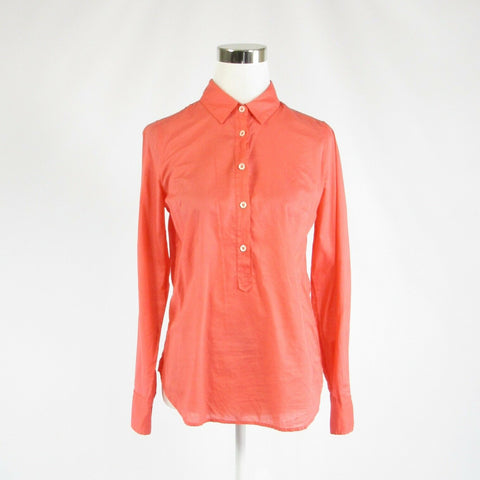 Coral orange 100% cotton J. CREW button chest long sleeve tunic blouse 2-Newish
