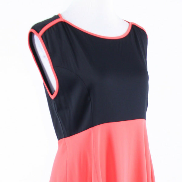 Black orange color block FRENCH CONNECTION sleeveless A-line dress 10-Newish