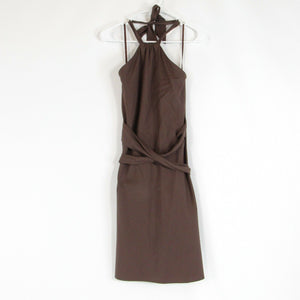 Brown 100% cotton BCBG MAX AZRIA halter neck A-line dress 2