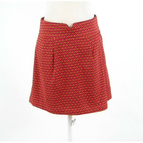 Light red black geometric ANTHROPOLOGIE TULLE A-line skirt M