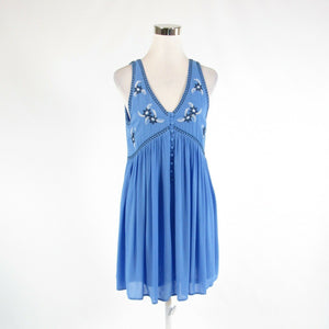 Blue white ENTRO embroidered trim sheer overlay stretch sleeveless shift dress M
