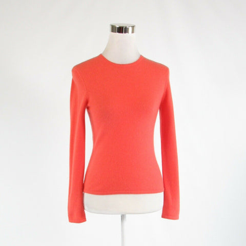 Coral orange 100% cashmere HAROLD'S long sleeve crewneck sweater XS