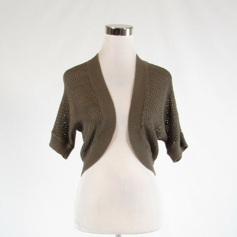 Olive green 100% cotton ANN TAYLOR LOFT short batwing sleeve bolero sweater M-Newish