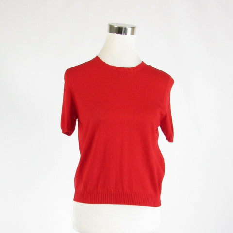 Red 100% wool LE GUIGNOL short sleeve crewneck sweater 12-Newish