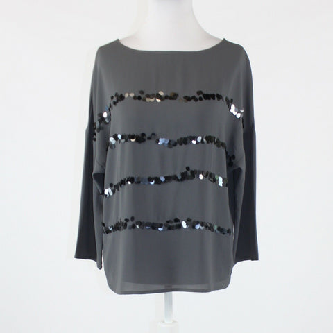 Gray black striped sequin semi-sheer ANN TAYLOR LOFT dolman sleeve blouse XS