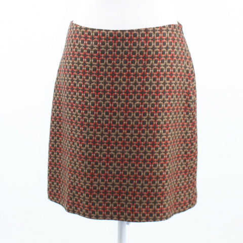 Brown khaki geometric wool blend BADGLEY MISCHKA A-line skirt 6-Newish