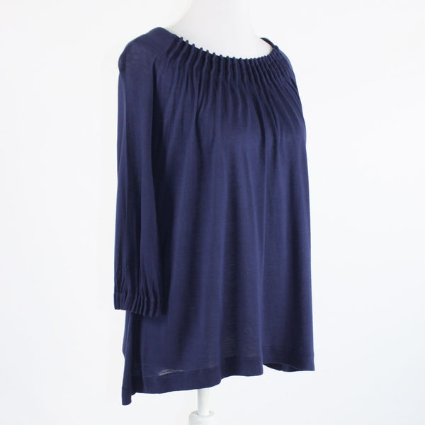 Navy blue stretch J. CREW pleated neckline 3/4 sleeve knit blouse S