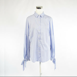 Light blue cotton blend BANANA REPUBLIC button down blouse 12 NWT $78.00