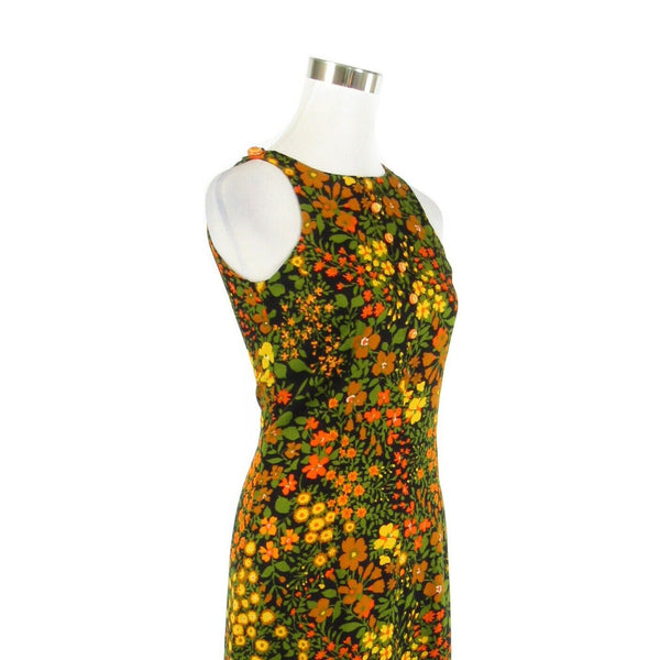 Black green orange floral print cotton sleeveless vintage maxi dress XS-Newish
