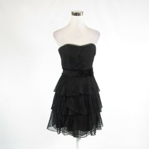 Black 100% silk WHITE HOUSE BLACK MARKET sleeveless tiered dress 00-Newish