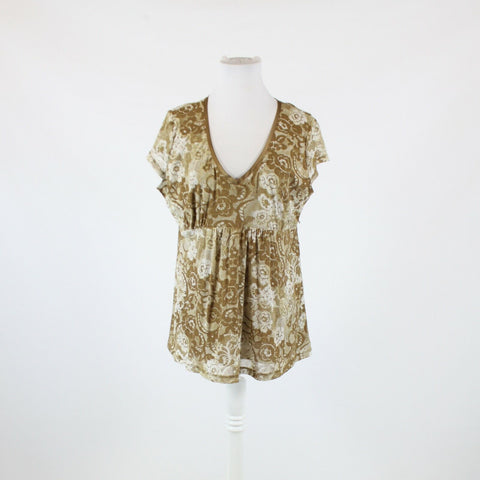 Brown beige abstract floral stretch NEW YORK and COMPANY short sleeve blouse XL