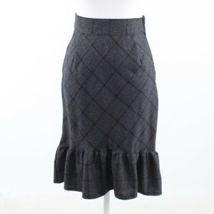 Charcoal gray black diamond 100% wool BILLY REID pencil skirt 4-Newish