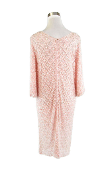 Light pink lace drop beading LANE BRYANT Andora 3/4 sleeve vintage dress L XL