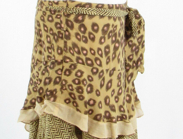 Beige brown cheetah 100% silk BIANCA NYGARD tiered skirt 12-Newish