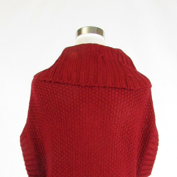 Maroon red JESSICA SIMPSON short sleeve mock turtleneck crochet knit sweater S-Newish