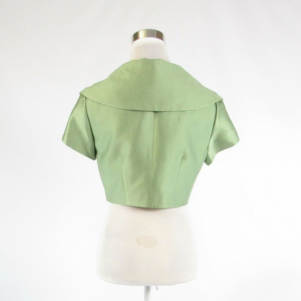 Light green silk blend KAY UNGER cap sleeve bolero jacket 6-Newish