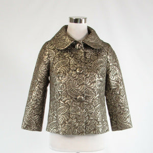 Cool brown gold floral print silk blend BANANA REPUBLIC blazer jacket XS