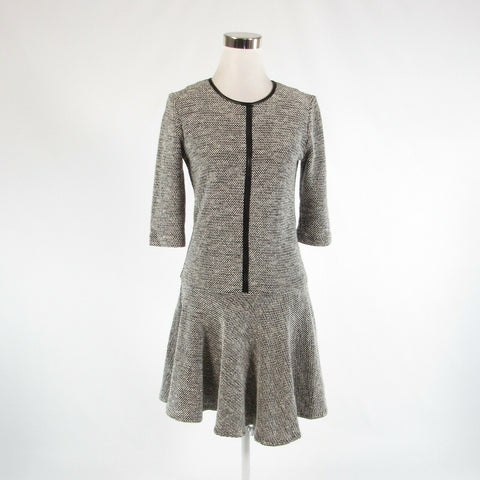 Black ivory textured cotton blend SARA CAMPBELL 3/4 sleeve A-line dress 2