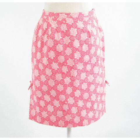 Pink white geometric cotton blend TIBI A-line skirt 10