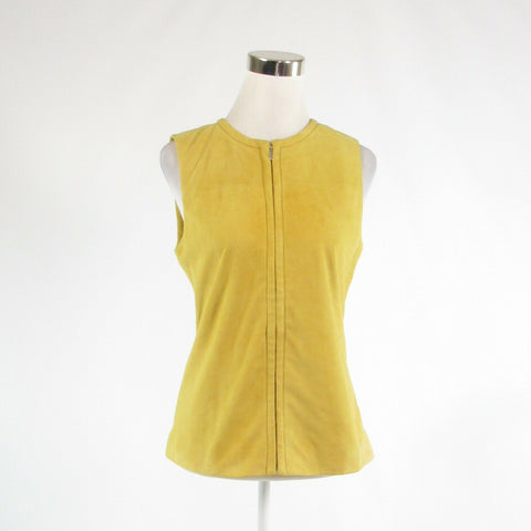 Mustard yellow suede TANNER Doncaster sleeveless vest 2 NWT $650.00-Newish