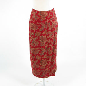 Maroon red beige paisley TALBOTS maxi skirt 2P