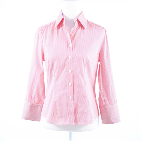 Light pink white J. MCLAUGHLIN button down blouse sz 4 striped 100% cotton