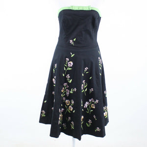 Black green floral print cotton blend ANTHROPOLOGIE ELEVENSES A-line dress 4-Newish