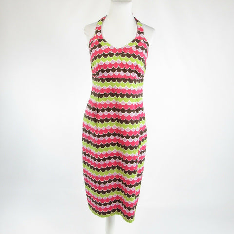 Light green brown geometric 100% cotton BODEN halter neck sun dress 10 10L