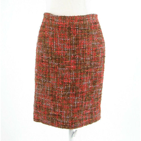 Cool brown orange textured J. CREW No. 2 Pencil pencil skirt 2-Newish