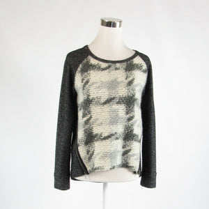 Black ivory textured DOLAN long sleeve crewneck multi-knit sweater XS