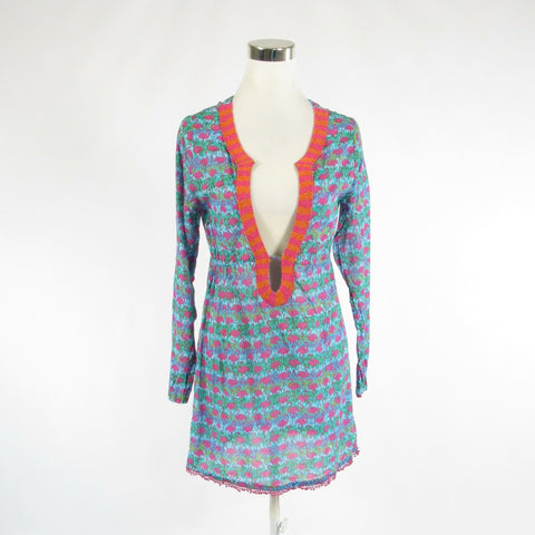 Blue pink geometric flamingo cotton SHIRALEAH CHICAGO tunic blouse M