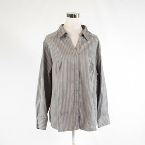 Taupe black pinstripe cotton blend LANE BRYANT long sleeve button down blouse 26-Newish