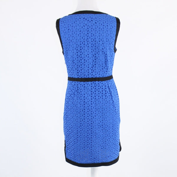 Blue eyelet CYNTHIA ROWLEY black trim sleeveless sheath dress 8